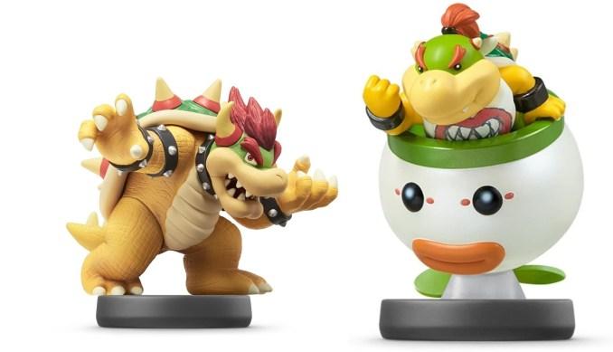 """Das Bild zeigt die amiibo-Figuren Bowser und Bowser Jr. Aus der """"Super Smash Bros.-Reihe""""."""