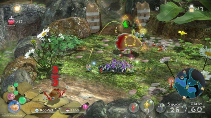"""Das Bild zeigt die Pikmin bei der Bewältigung einiger Aufgaben aus """"Pikmin 3 Deluxe"""""""