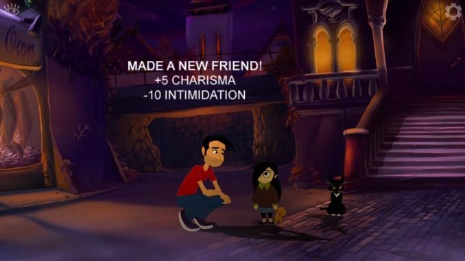 """Auf dem Bild des Spiels """"Gibbous – A Cthulhu Adventure"""" ist Mann, eine Katze, ein Mädchen und ein Attribut-Text zu erkennen."""