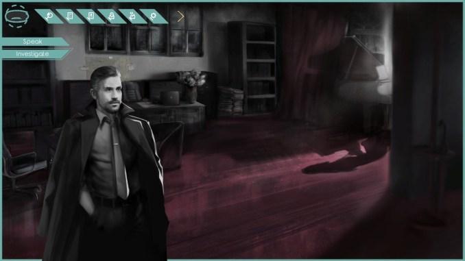 Das Bild zeigt Detektiv Mordred in seinem Büro.