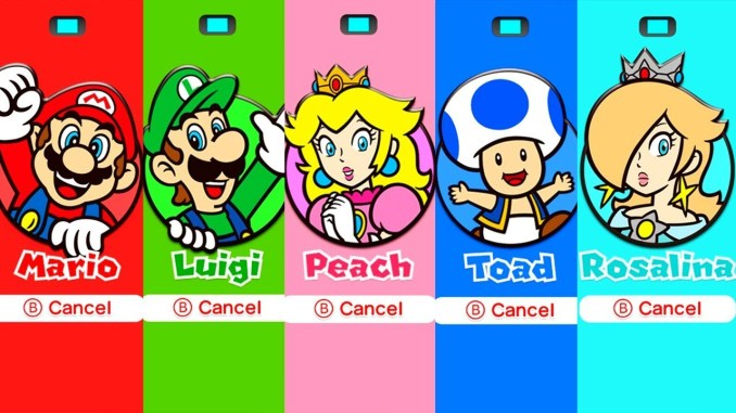 """Das Bild zeigt alle auswählbaren Charaktere in """"Super Mario 3D World""""."""