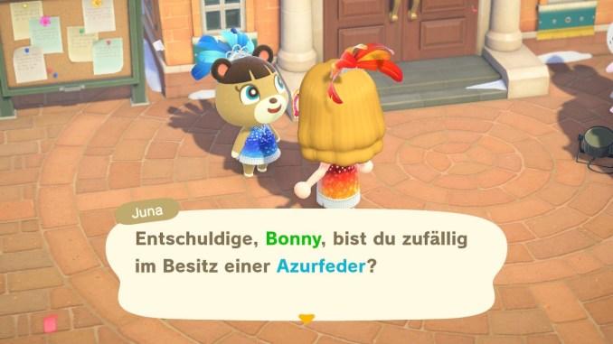 """Das Bild zeigt wie man zum Karneval in """"Animal Crossing: New Horizons"""" Federn tauschen kann."""