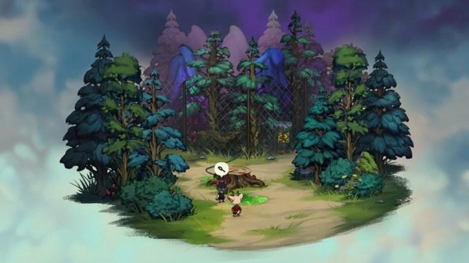 """Das Bild zeigt ein eingezäuntes Waldstück und eine grüne Flüssigkeit auf dem Boden, aus dem Spiel """"Beacon Pines"""""""