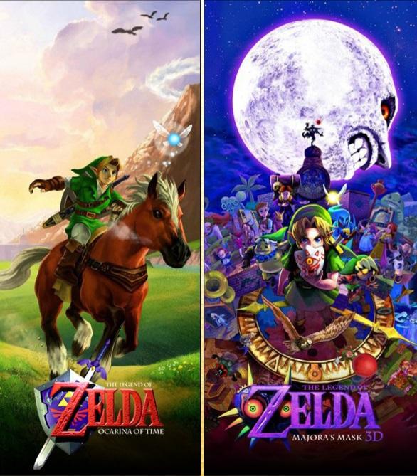 """Das Bild zeigt die Keyart von """"Ocarina of Time"""" und """"Majora's Mask""""."""
