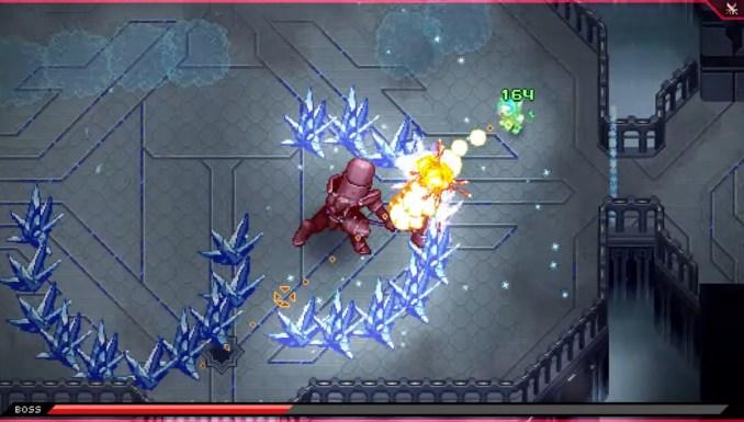 """Das Bild zeigt einen Bosskampf im """"A New Home""""-DLC von """"CrossCode""""."""