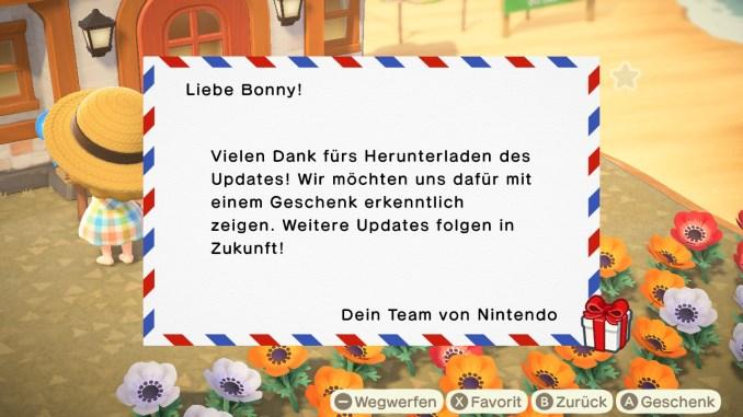 """Das Bild zeigt das Dankeschön des Update 1.8.0 für """"Animal Crossing: New Horizons""""."""