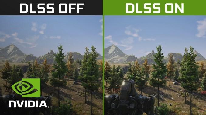Das Bild zeigt einen Vergleich von Spielszenen mit und ohne NVIDIA DLSS-Technologie.