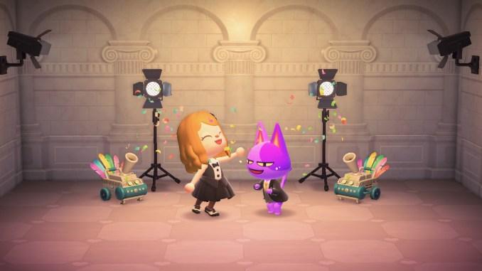 """Das Bild zeigt ein arrangiertes Foto auf Harveys Insel zur Bekanntgabe vom Gewinnspiel zum 1. Jubiläum von """"Animal Crossing: New Horizons""""."""