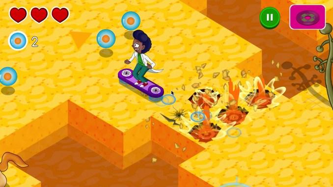 """Das Bild zeigt einen der Protagonisten auf einem Hoverboard aus dem Spiel """"BodyQuest""""."""