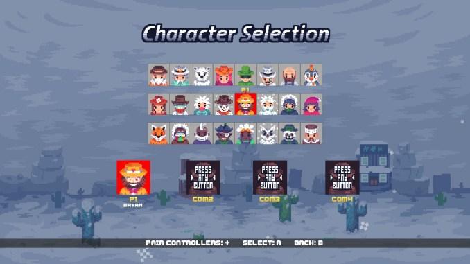"""Das Bild zeigt die Charakterauswahl in """"Gun Skaters""""."""