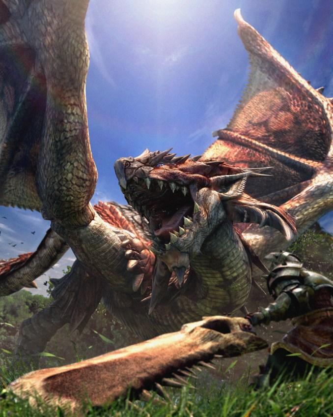 """Das Bild zeigt ein Artwork zu dem Spiel """"Monster Hunter Rise""""."""