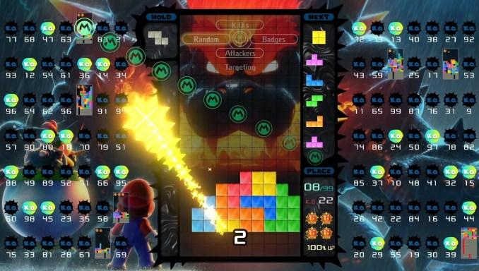 """Das Bild zeigt das """"Bowser's Fury""""-Design in """"Tetris 99""""."""