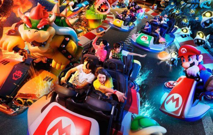 """Das Bild zeigt die """"Mario Kart: Bowser's Challenge""""-Attraktion."""