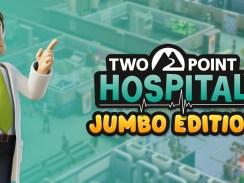 """Das Bild zeigt das Logo von """"Two Point Hospital: JUMBO Edition""""."""