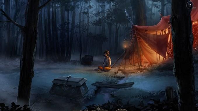 """Auf dem Bild ist eine Waldlichtung und ein erleuchtetes Zelt in """"Das Schwarze Auge: Memoria"""" zu sehen."""