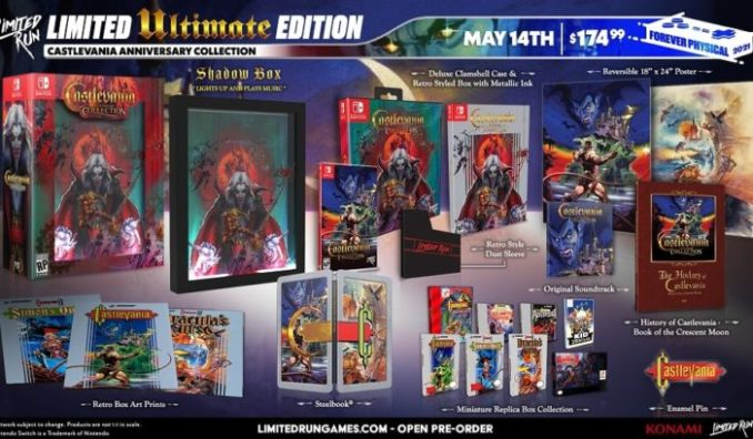 Das Bild präsentiert die vier Verschiedenen Editionen der Castlevania Anniversary Collection