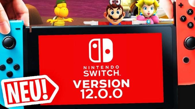 Das Bild zeigt, die Nintendo Switch mit dem Hinweis auf das neuste Firmware Update.