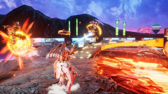 """Das Bild zeigt eine Szene aus dem Spiel """"Override 2: Super Mech League""""."""