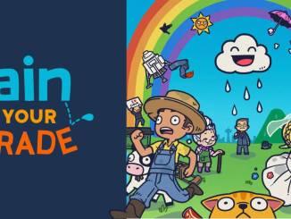 """Das Bild zeigt das Logo des Spiels """"Rain On Your Parade""""."""