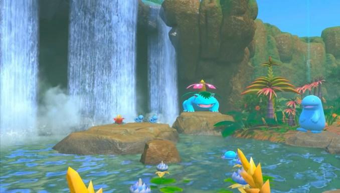 """Das Bild zeigt einige Pokémon an einer Wasserstelle in """"New Pokémon Snap""""."""