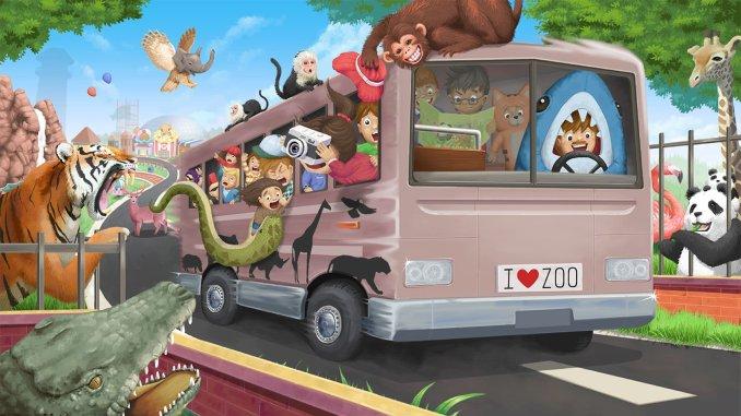 Das Bild präsentiert das Spiel Let's Build A Zoo. Man sieht einen Bus der voller Tiere ist