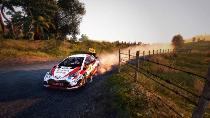 """Das Bild zeigt eine scharfe Kurve in """"WRC 9""""."""