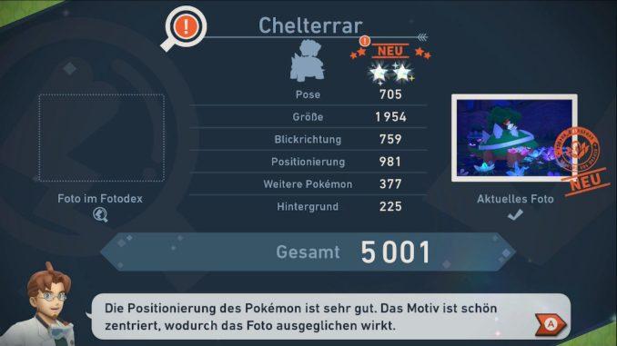 Das Bild zeigt das Bewertungssystem aus New Pokémon Snap