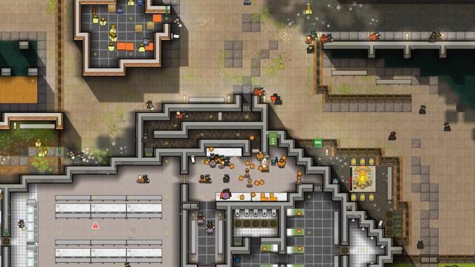 """Das Bild zeigt eine Szene aus dem Spiel """"Prison Architect""""."""