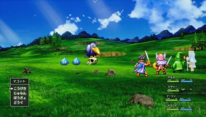 """Das Bild zeigt den Kampfbildschirm des HD-2D-Remakes von """"Dragon Quest III"""""""