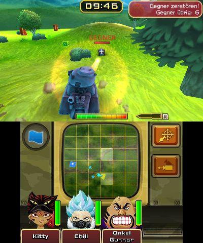 """Das Bild zeigt eine Szene aus der Nintendo 3DS-Version von """"Tank Troopers""""."""