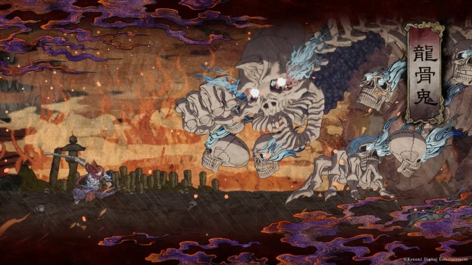 """Das Bild zeigt einen großen Gegner aus dem Spiel """"GetsuFumaDen: Undying Moon"""", welches von Konami veröffentlicht wird."""