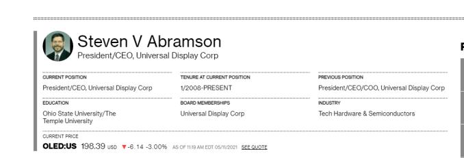 Das Bild zeigt den Geschäftsführer von Universal Display Corp, welche die Displays für die Switch Pro herstellen