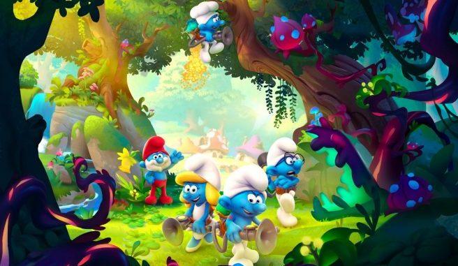 """Das Bild zeigt einige Charaktere aus dem Spiel """"The Smurfs: Mission Vileaf""""."""