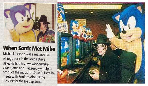 """Das Bild zeigt einen Zeitungsartikel mit Michael Jackson und """"Sonic""""."""