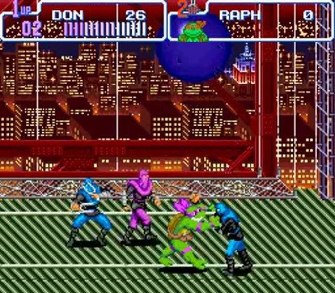 Das Bild zeigt eine Spielszene des SNES Games TMNT: Turtles in Time von 1992