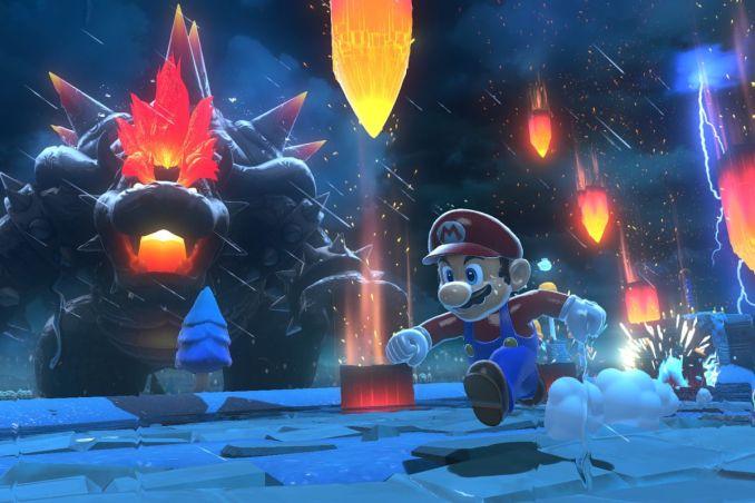 """Das Bild zeigt Super Mario und Wut-Bowser in """"Bowser's Fury""""."""