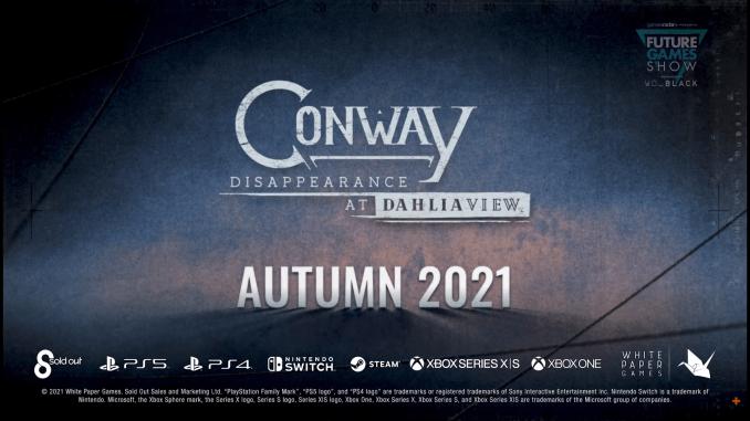 """Das Bild zeigt das Logo von """"Conway: Disappearance at Dahlia View""""."""