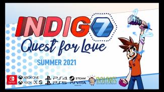 """Das Bild zeigt das Logo des Spieles """"Indigo 7: Quest For Love""""."""