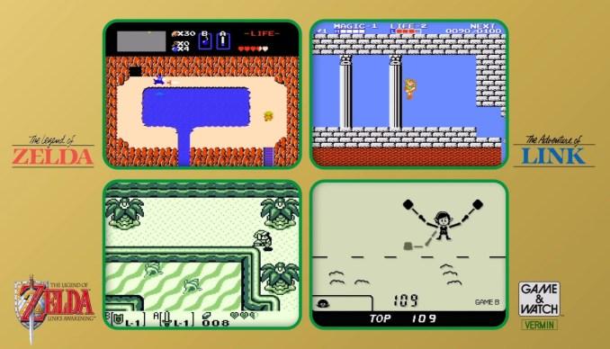"""Das Bild zeigt die enthaltenen Spiele des """"Game & Watch: The Legend of Zelda""""."""