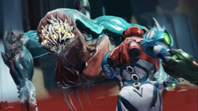 """Das Bild zeigt einen Bossgegner von """"Metroid Dread""""."""
