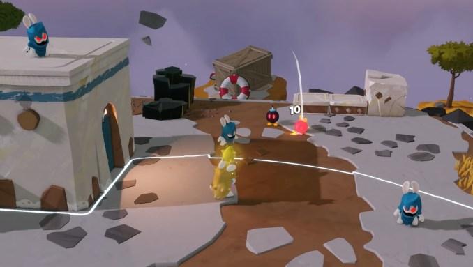 """Das Bild zeigt das Kampfgeschehen in """"Mario + Rabbids Sparks of Hope""""."""