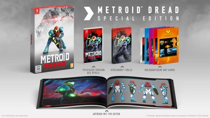 """Das Bild zeigt den Inhalt der Special Edition zu """"Metroid Dread""""."""