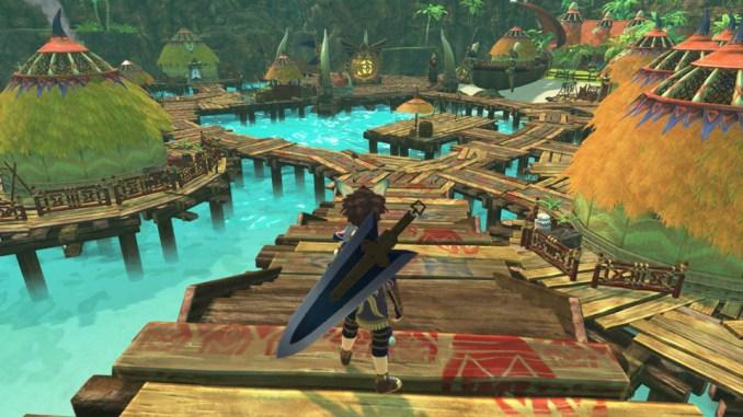 """Das Bild zeigt den Protagonisten in einem Dorf in """"Monster Hunter Stories 2""""."""