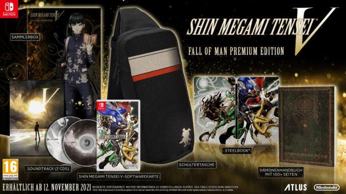 """Das Bild zeigt die Fall of Man Premium-Edition von """"Shin Megami Tensei V""""."""