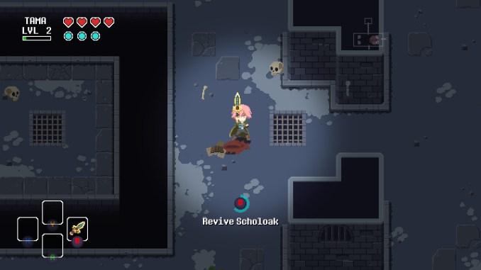 """Das Bild zeigt einen Dungeon und den Helden aus dem Spiel """"Sword of the Necromancer""""."""