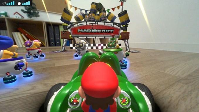 """Das Bild zeigt die neue Strecke """"Barrel Temple"""" in """"Mario Kart Live: Home Circuit""""."""