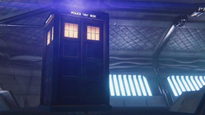 """Das Bild zeigt einen Ausschnitt aus """"Doctor Who: Edge of Reality"""" indem die TARDIS zu sehen ist."""