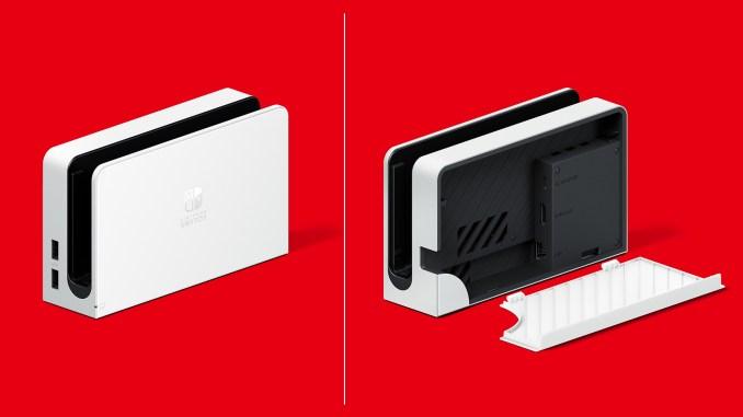 Das Bild zeigt das Nintendo Switch OLED-Modell-Dock.