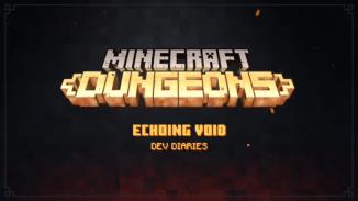 """Das Bild zeigt das """"Echoing Void-DLC"""" Logo von """"Minecraft Dungeons""""."""