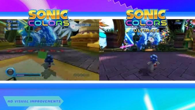 """Das Bild zeigt einen Grafik Grafikvergleich zwischen """"Sonic Colours"""" und dem HD-Remaster."""